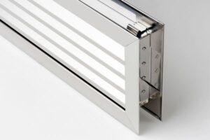 Kratka wentylacyjna drzwiowa stal nierdzewna, szczotkowana 440x120